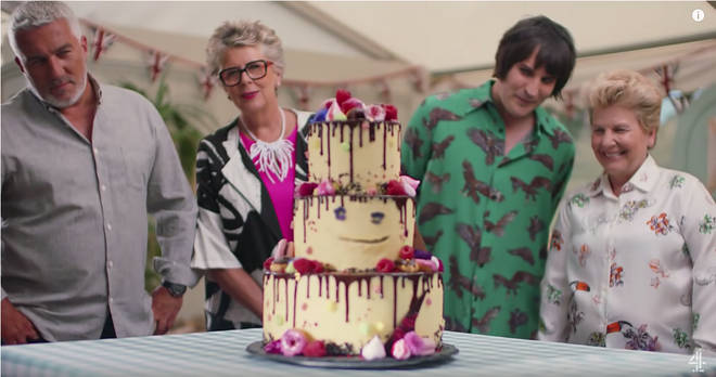 Sandi Toksvig in the Great British Bake Off with co-host Noel Fielding, and judges Paul Hollywood and Prue Leith