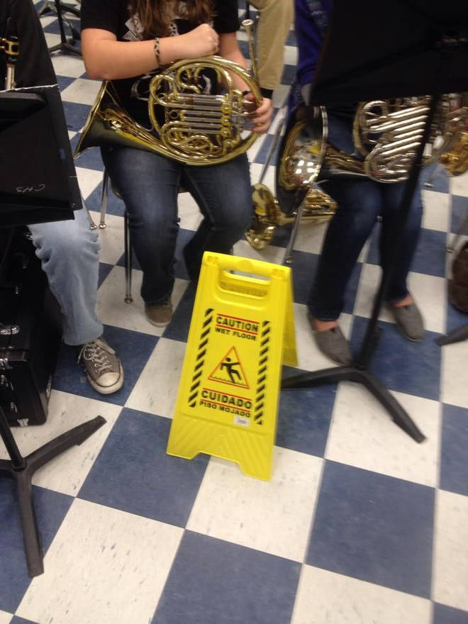 Wet floor by French horns