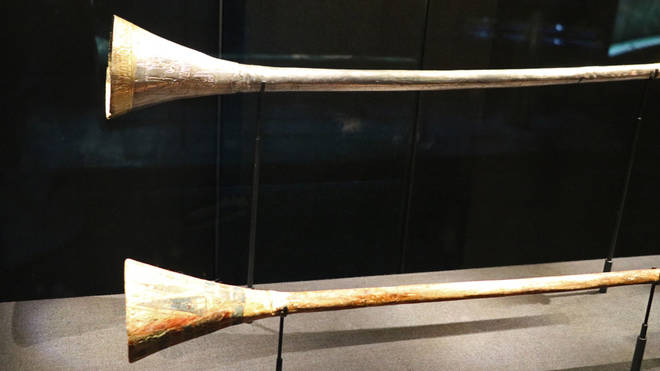 The silver trumpet and its wooden core were found in King Tutankhamun's burial chamber