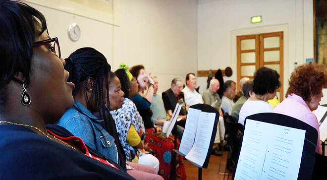 Stroke survivors gather together to rehearse