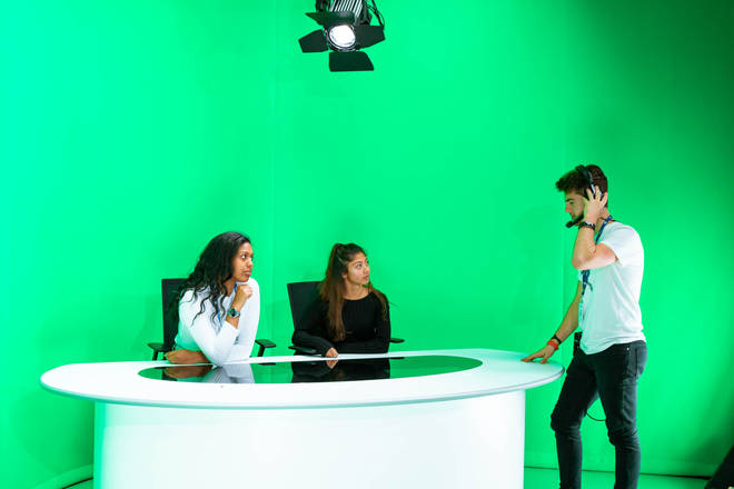 The Global Academy's green screen studios