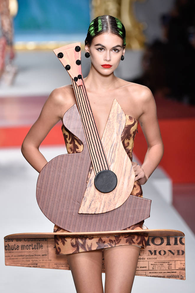 Model Kaia Gerber wore a guitar-shaped cocktail dress