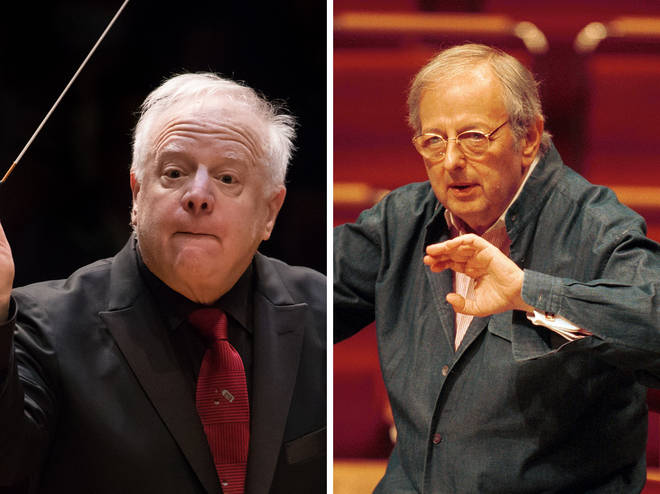 Leonard Slatkin mistaken for André Previn (right) in the Emmys 2019 'In Memoriam' segment
