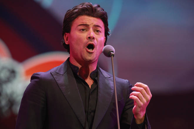 Italian tenor Vittorio Grigolo suspended from the Royal Opera House