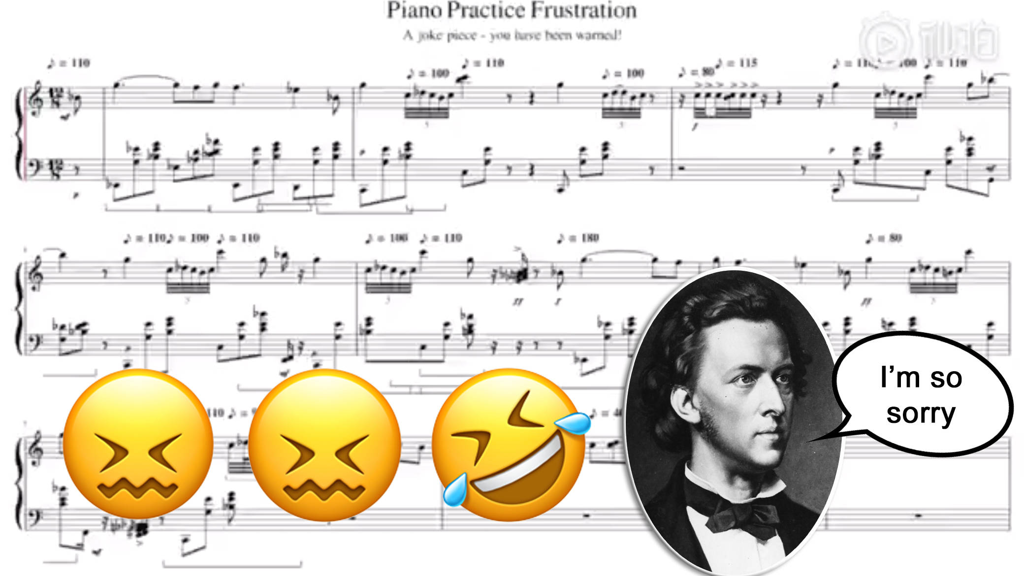 A pianist accurately transcribed their frustrating Chopin practice session.