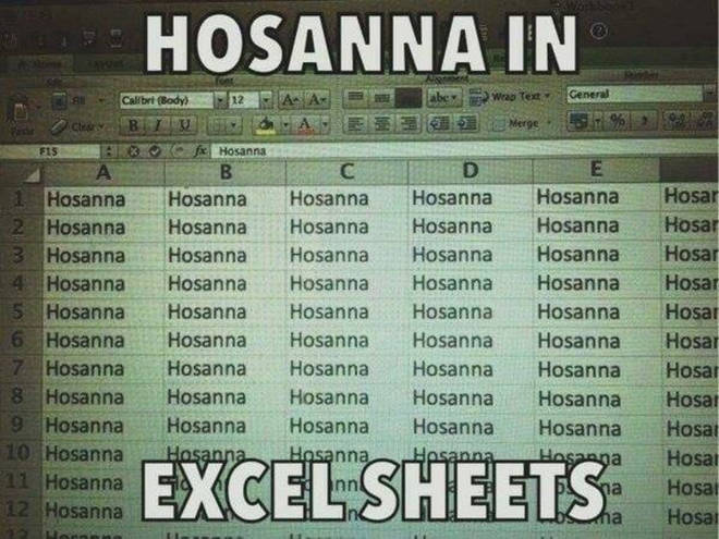 Hosanna in excel sheets