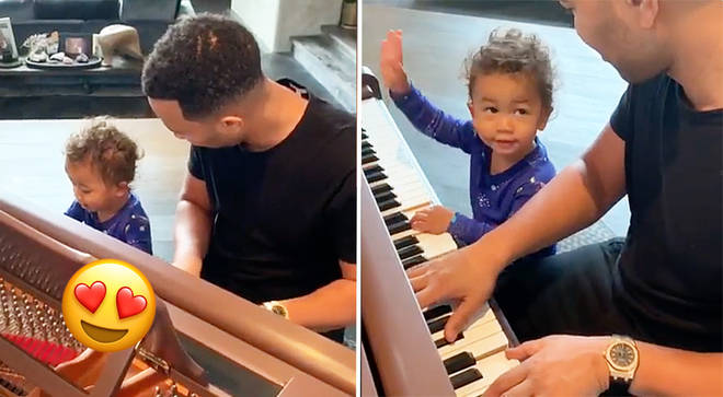 John Legend plays a piano duet with his one-year-old son