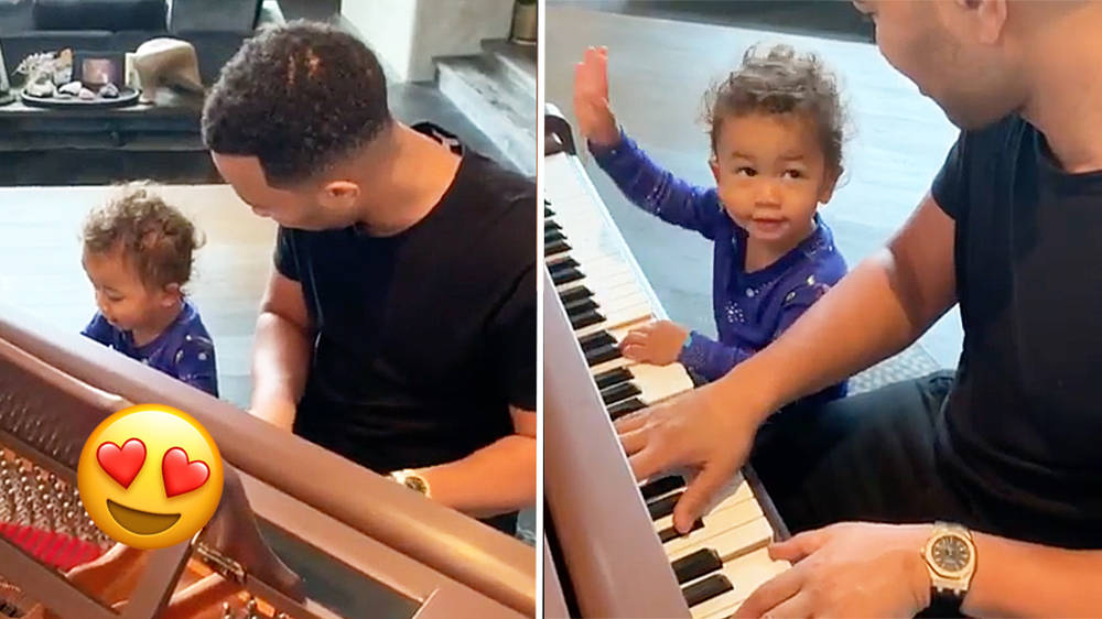 Chrissy Teigen shares adorable video of John Legend playing piano with son Miles
