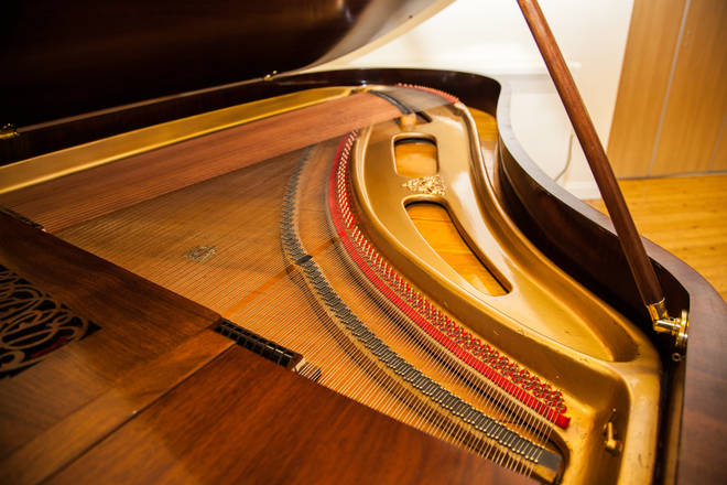 The interior of Holst's Broadwood piano, showing the resonant, 'barless' design