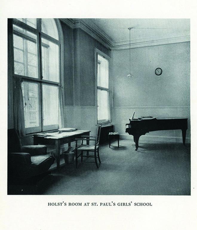 Holst's Broadwood piano photographed at St. Paul's Girl's School