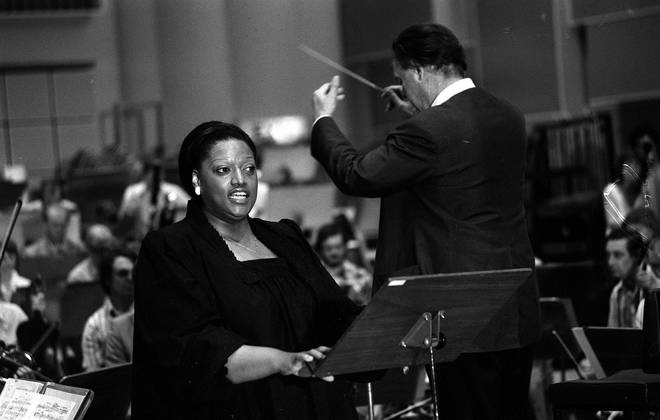 Soprano Jessye Norman performing with conductor John Pritchard in 1980