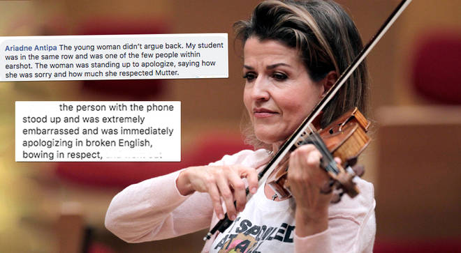 Audience members stand up for concertgoer at Anne-Sophie Mutter's concert