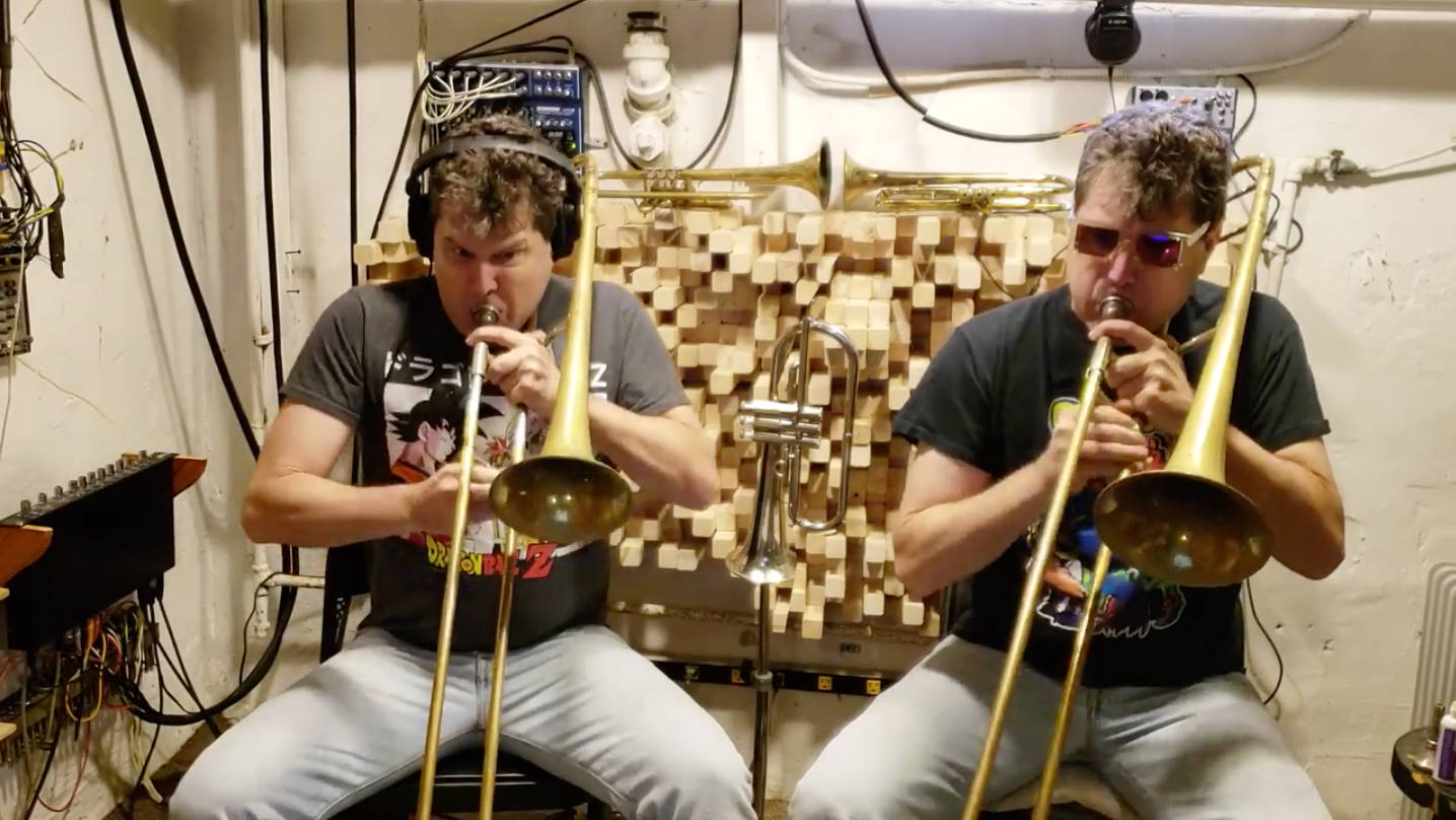 Man plays 'Flight of the Bumblebee' on trombone, as a duet with himself