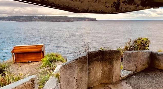 Mystery piano surrounded by stunning coastal scenery