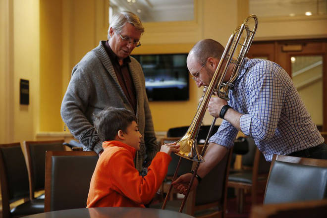 """Music is vibrations"" – Toby Oft introduces Ronan to the trombone"