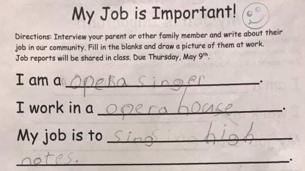 Operatic tenor dad got the cutest description in his 7-year-old daughter's homework
