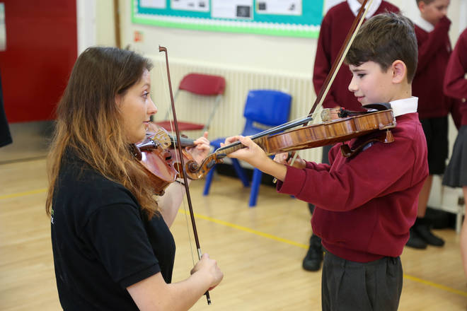 BSO Resound's Siobhan Clough participates in a Change Makers school workshop