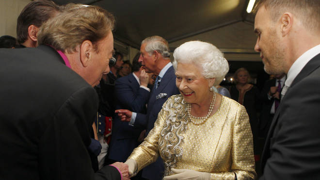 Andrew Lloyd Webber meeting the Queen at Buckingham Palace Concert on 4 June, 2012