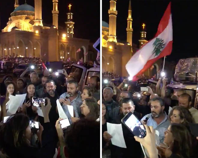 Lebanese protestors sing 'Ode To Joy' in Arabic