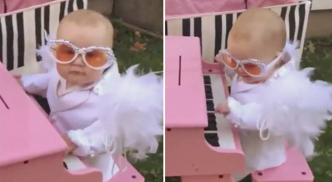 Mini Elton John plays piano
