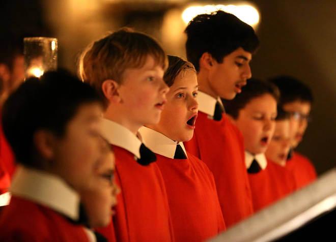 The Choir of King's College, Cambridge rehearses ahead of Festival of Christmas Day's Nine Lessons and Carols