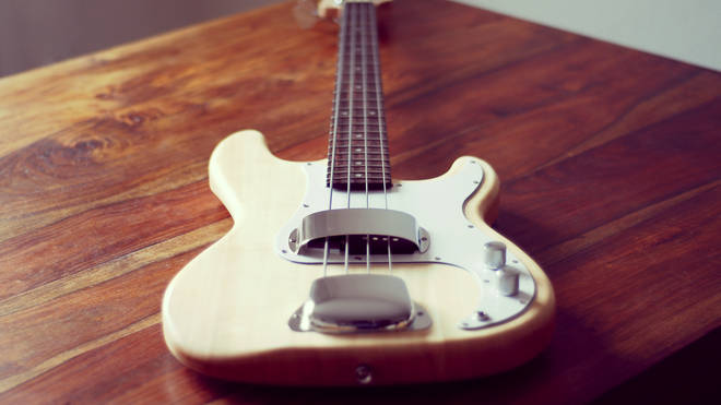 Wooden Fender bass guitar