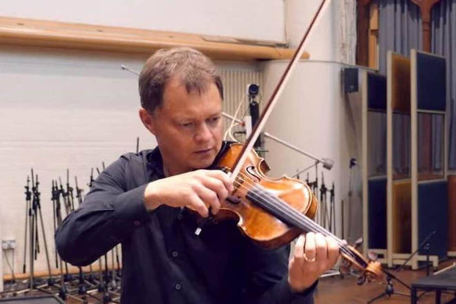 Stephen Morris and his prized violin