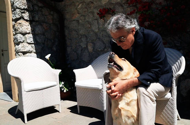 Andrea Bocelli and his dog