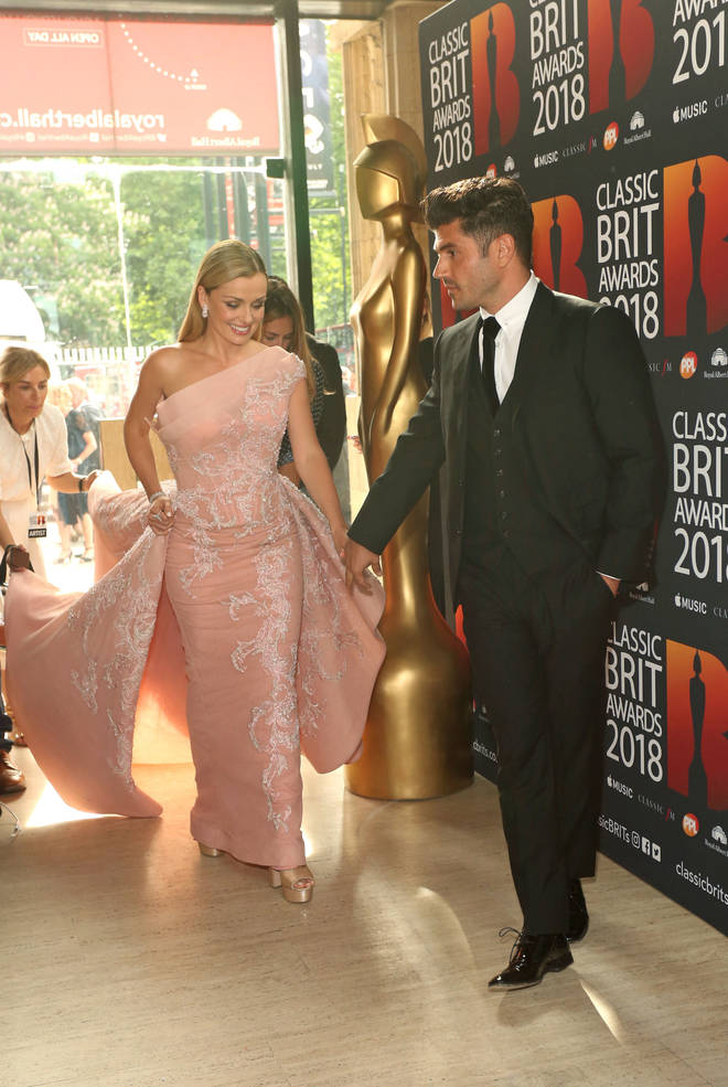 Katherine Jenkins and husband Andrew Levitas arrive at the Classic Brit Awards