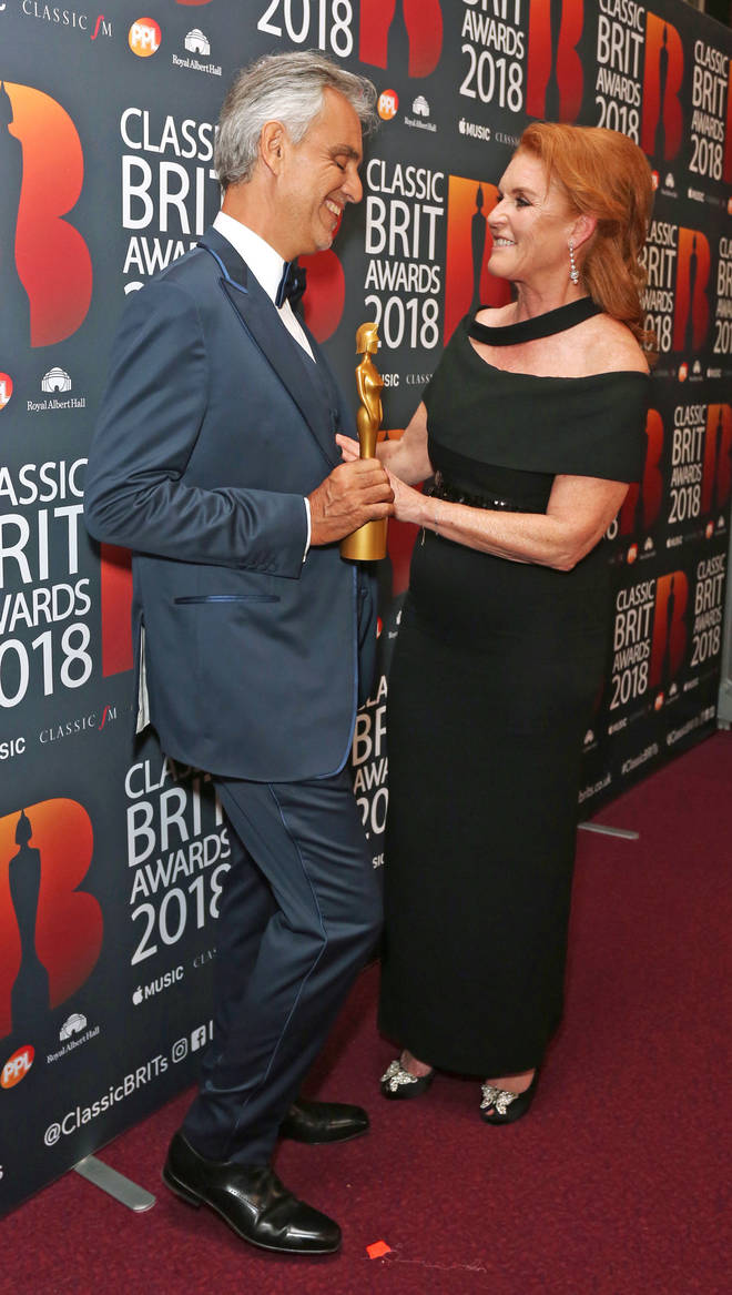 The Duchess of York presenting Andrea Bocelli with the Classic BRIT Icon Award