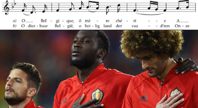 Belgium stands for the national anthem prior to the FIFA 2018 World Cup Group H Qualifier
