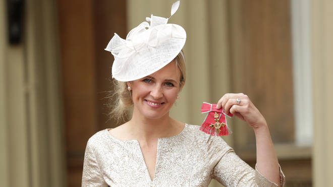 Alison Balsom with her OBE at Buckingham Palace