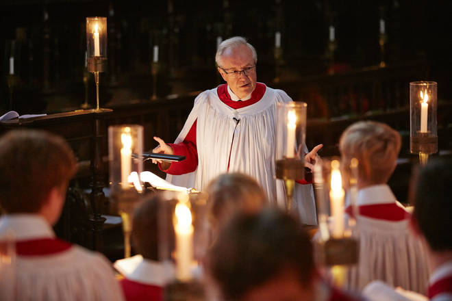 Stephen Cleobury at a King's College Choir rehearsal.